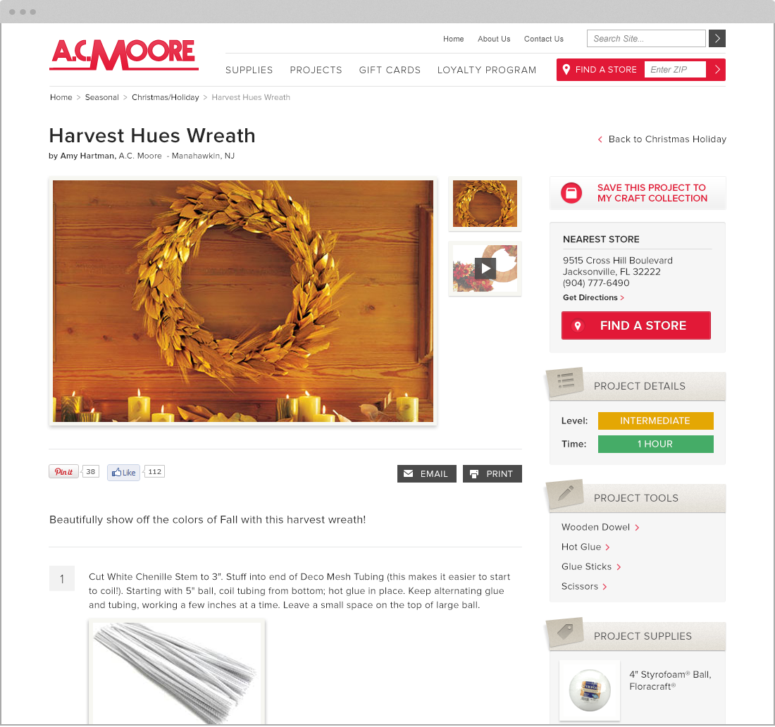 project page for Magento web design