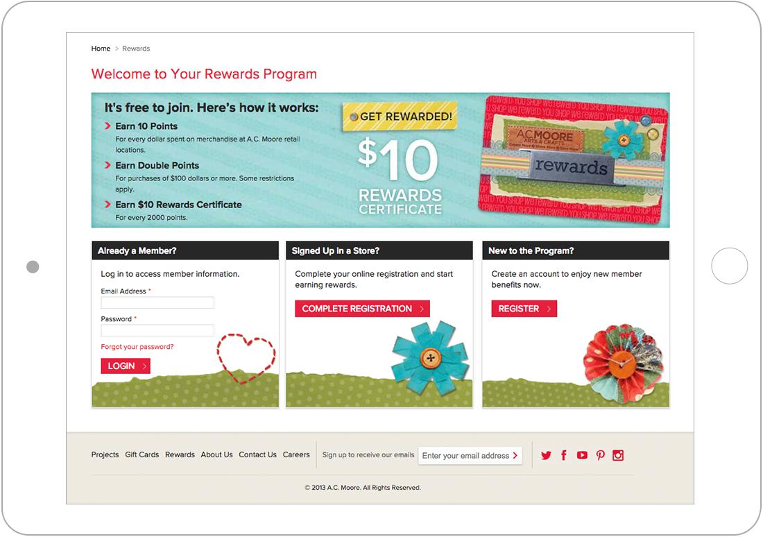 rewards page for Magento web design