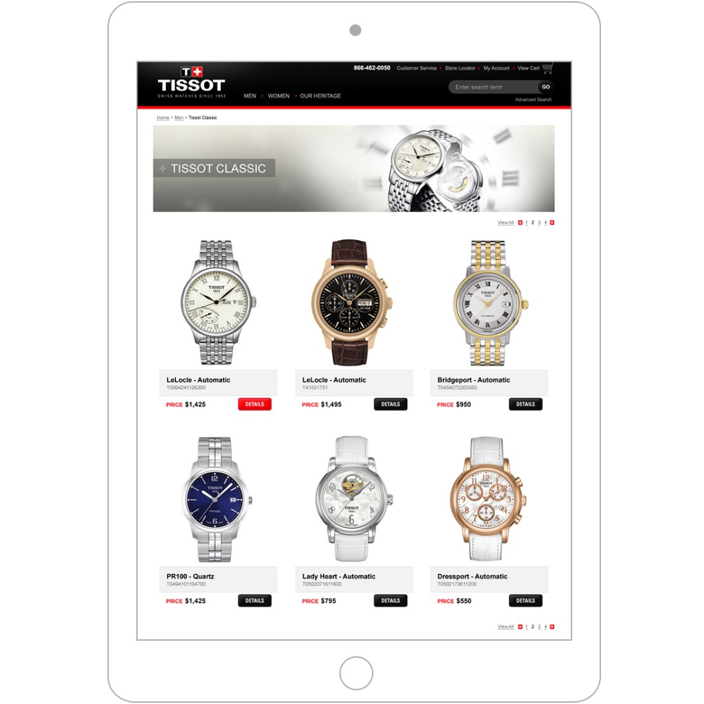 Tissot category page