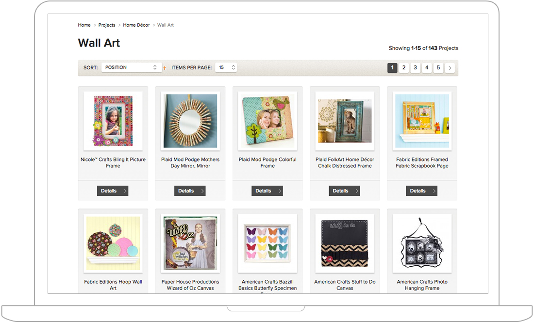 category page for Magento web design