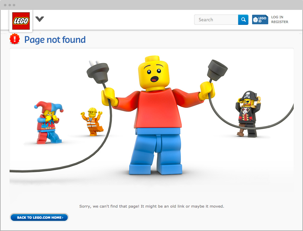 404 Error Message Text: Lego Website   5 User Experience Tips for Error Messages