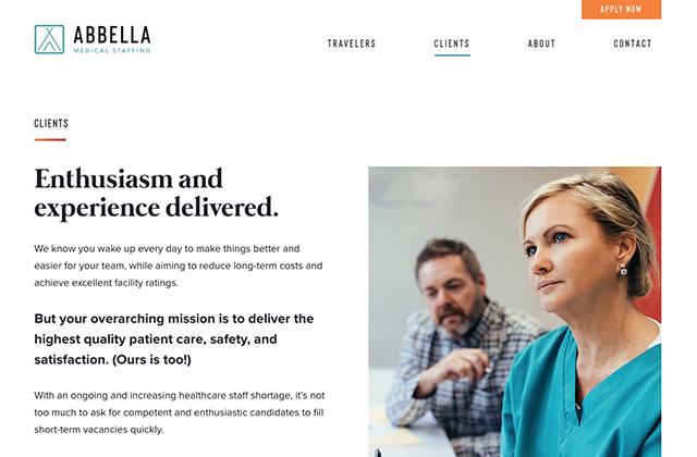 Abbella Medical Staffing brand website