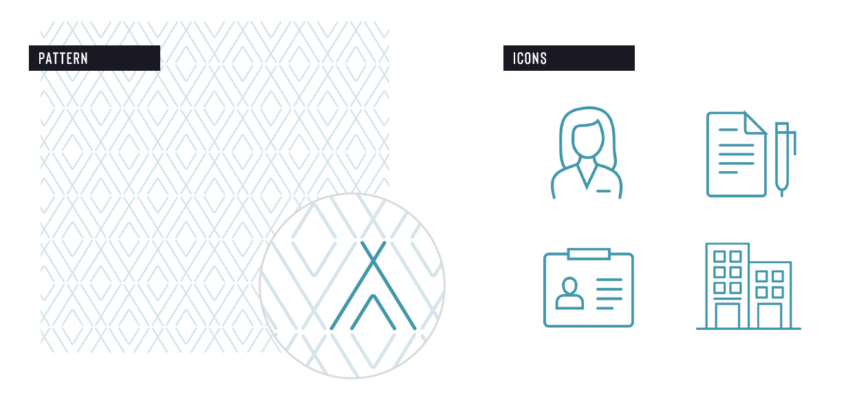 Abbella Medical Staffing Brand Identity - pattern and icons