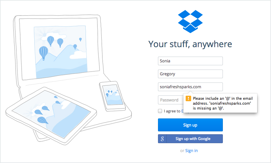 Error message examples: Dropbox   5 User Experience Tips for Creating the Best Error Messages