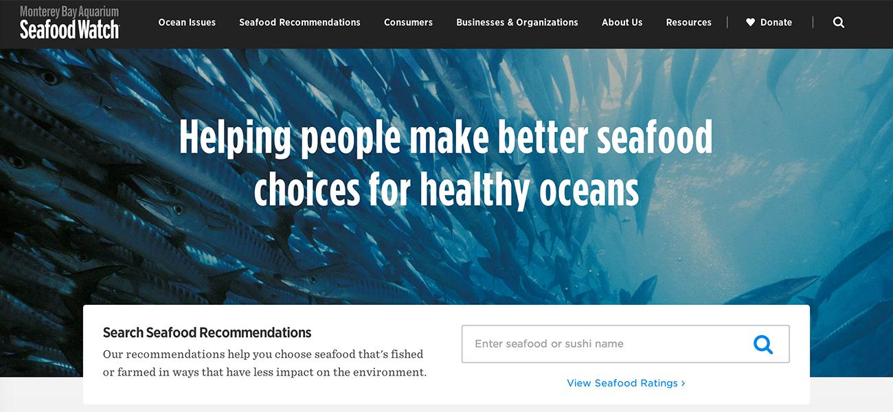 Best nonprofit website design inspiration - Monterey Bay Aquarium Seafood Watch |