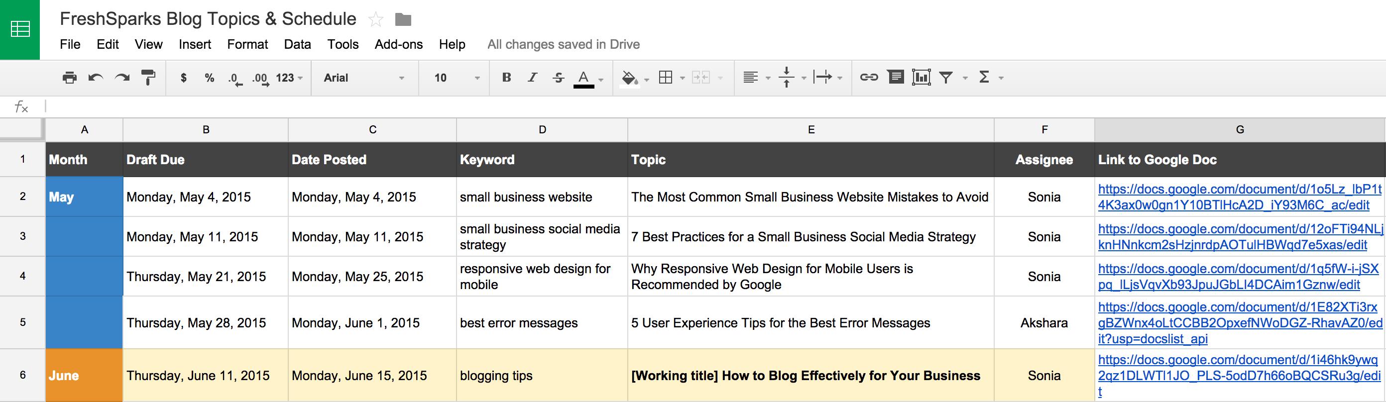 blogging tips editorial calendar