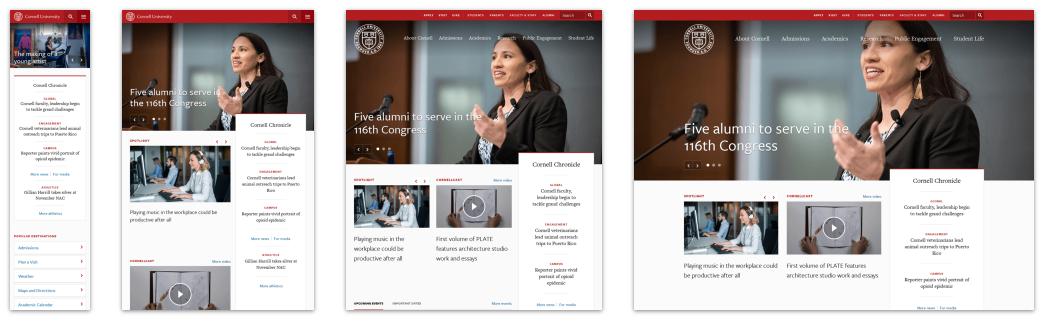 Responsive Website Design Example: Cornell University