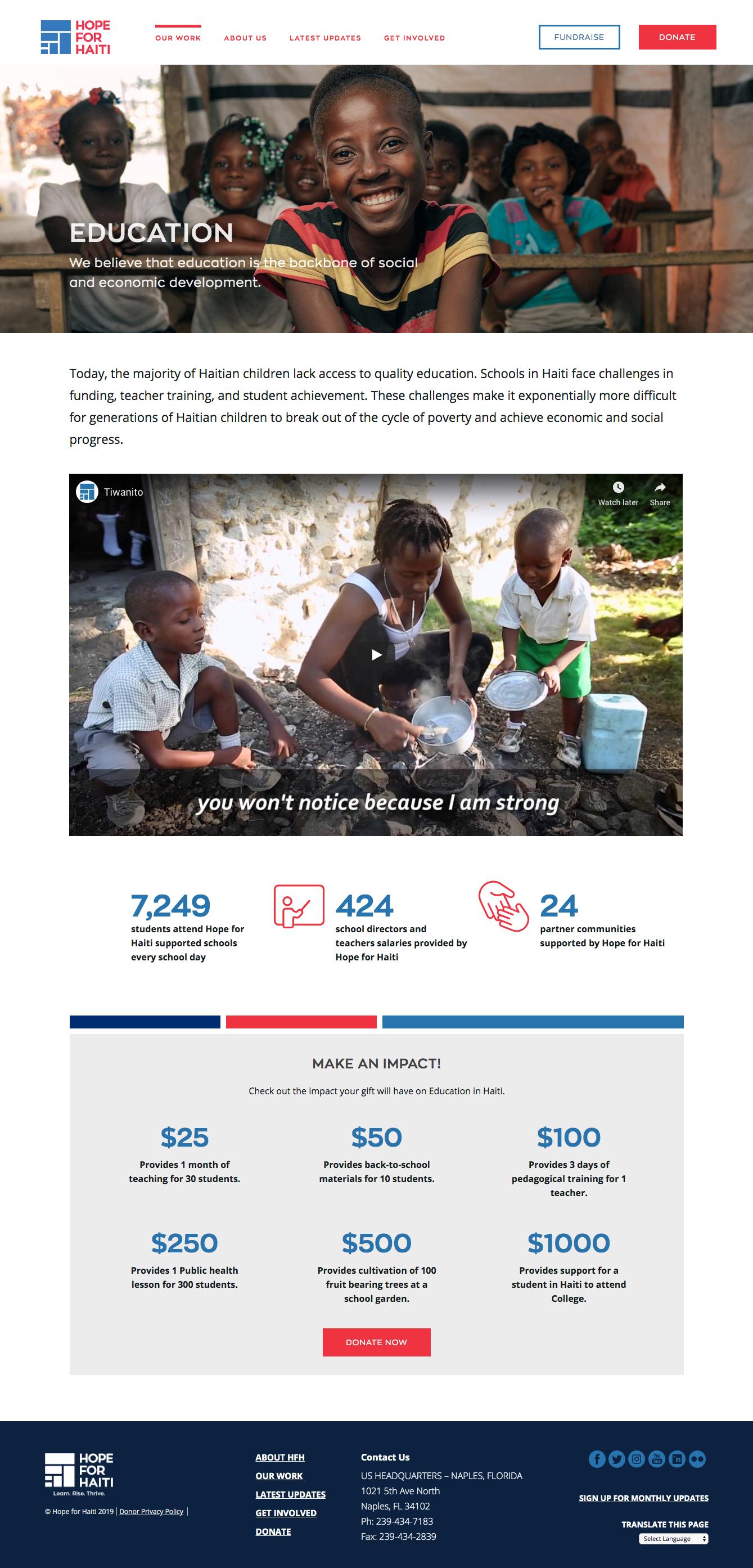 Hope For Haiti | Designing a nonprofit website