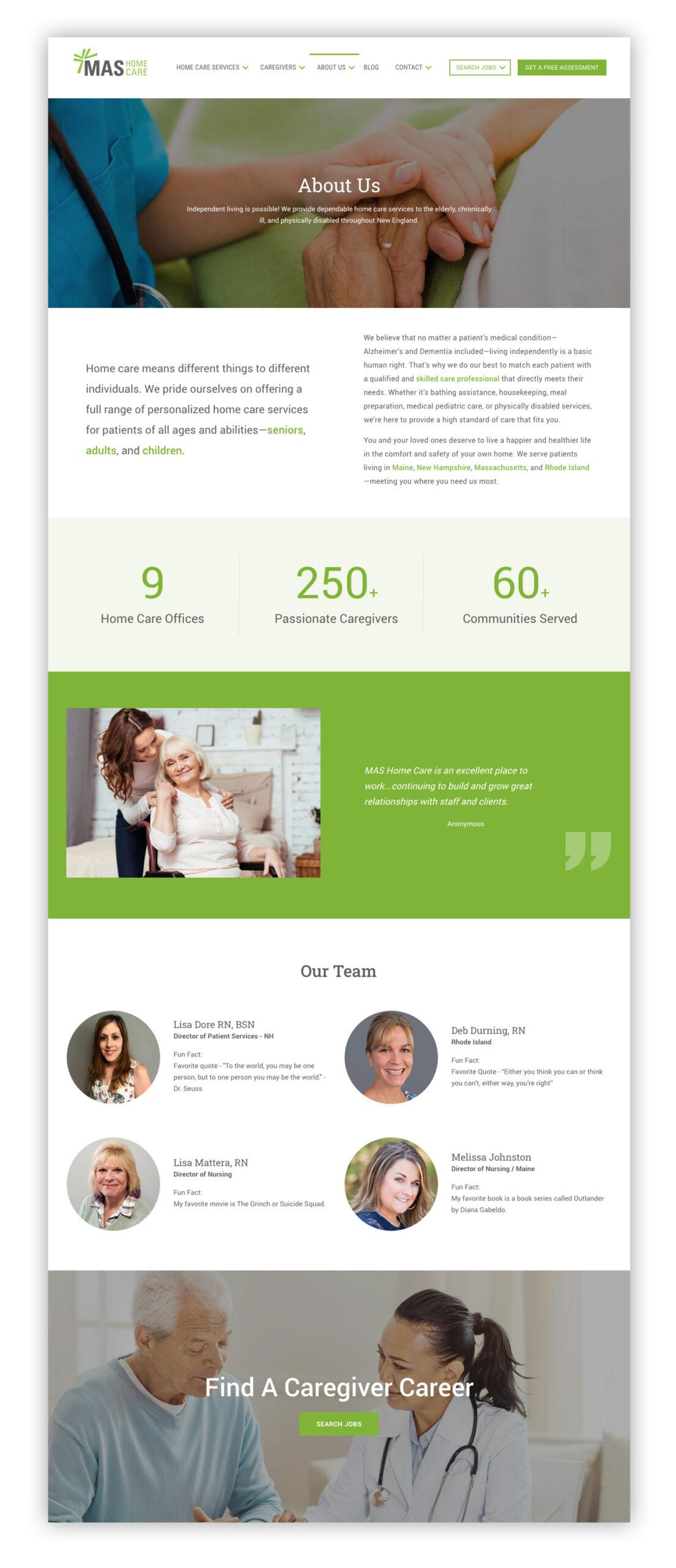 MAS Home Care Website Design