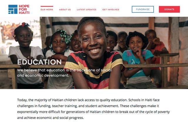 Hope For Haiti website branding nonprofit