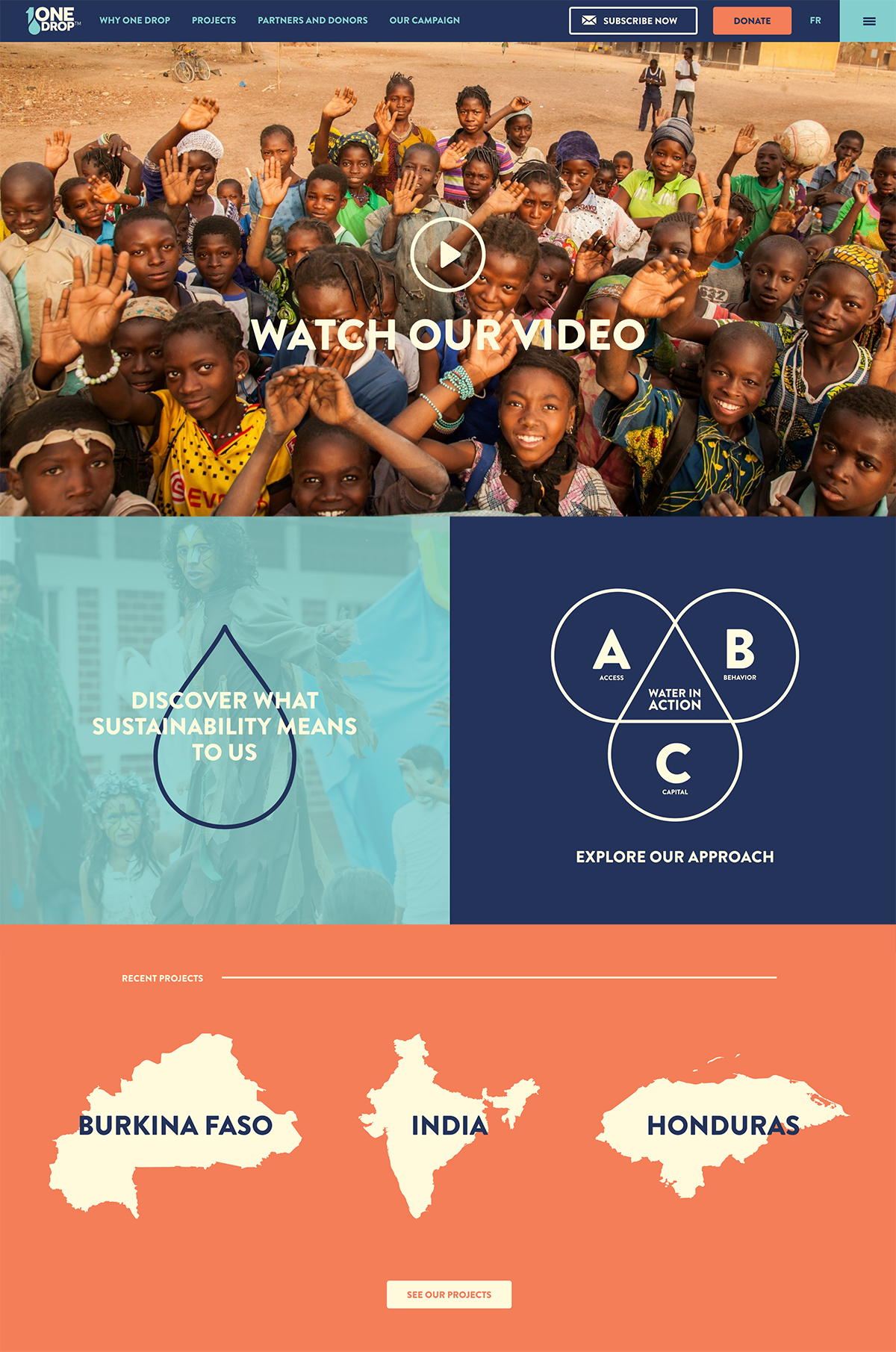 Use engaging images, graphics and video on your nonprofit website design - One Drop | 2018 Best Nonprofit Website Design Inspiration