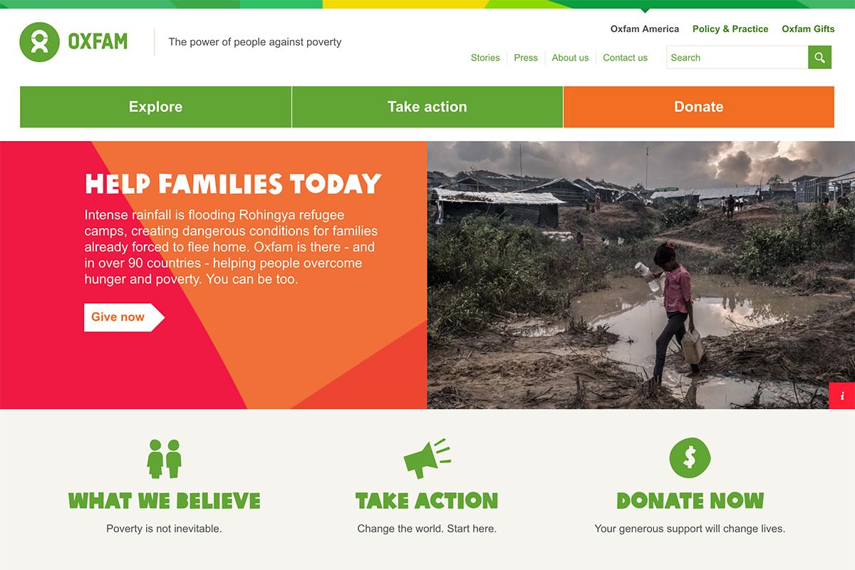 2018 best nonprofit website design inspiration - Oxfam America