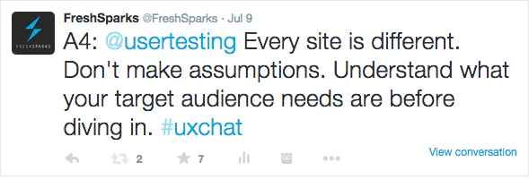 Twitter chats for marketing: example tweet