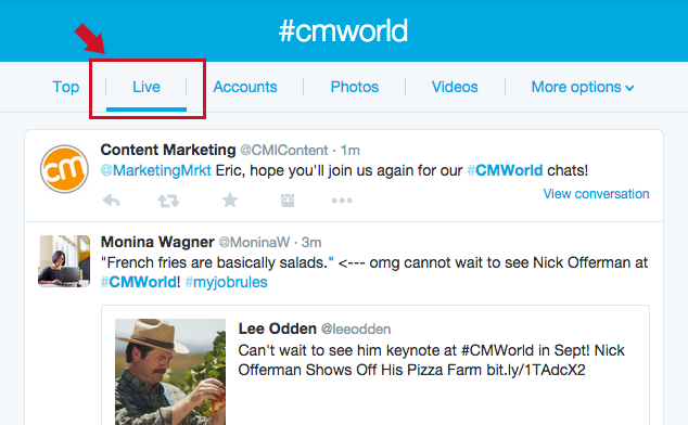 Twitter chats for marketing: using the live feed