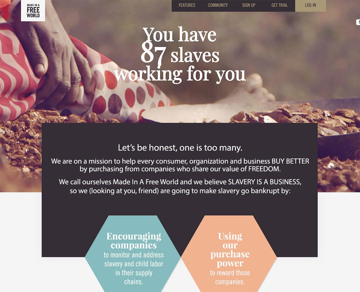 2018 best nonprofit website design inspiration - Slavery Footprint