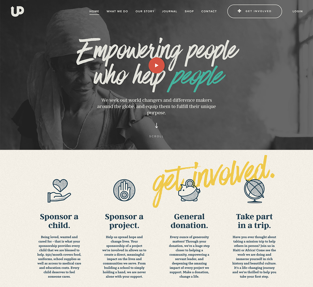 Effective use of white space on a nonprofit website design - Upstream International | 2018 Best Nonprofit Website Design Inspiration